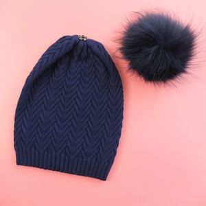 Cashmere Navy Hat with Large Real Fur Pom Pom